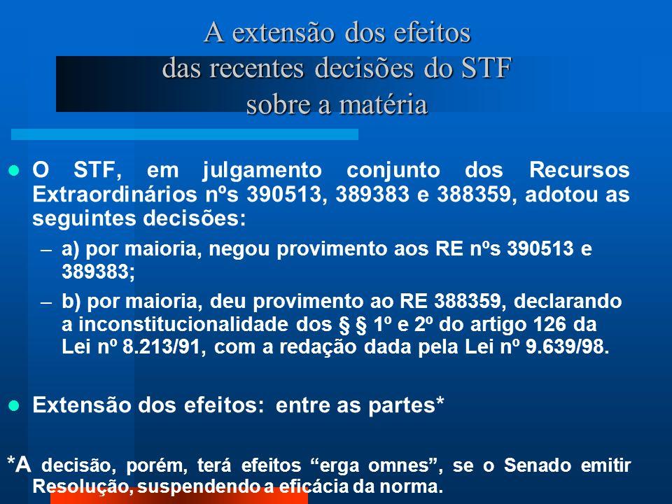 A extensão dos efeitos das recentes decisões do STF sobre a matéria O STF, em julgamento conjunto dos Recursos Extraordinários nºs 390513, 389383 e 388359, adotou as seguintes decisões: –a) por maioria, negou provimento aos RE nºs 390513 e 389383; –b) por maioria, deu provimento ao RE 388359, declarando a inconstitucionalidade dos § § 1º e 2º do artigo 126 da Lei nº 8.213/91, com a redação dada pela Lei nº 9.639/98.