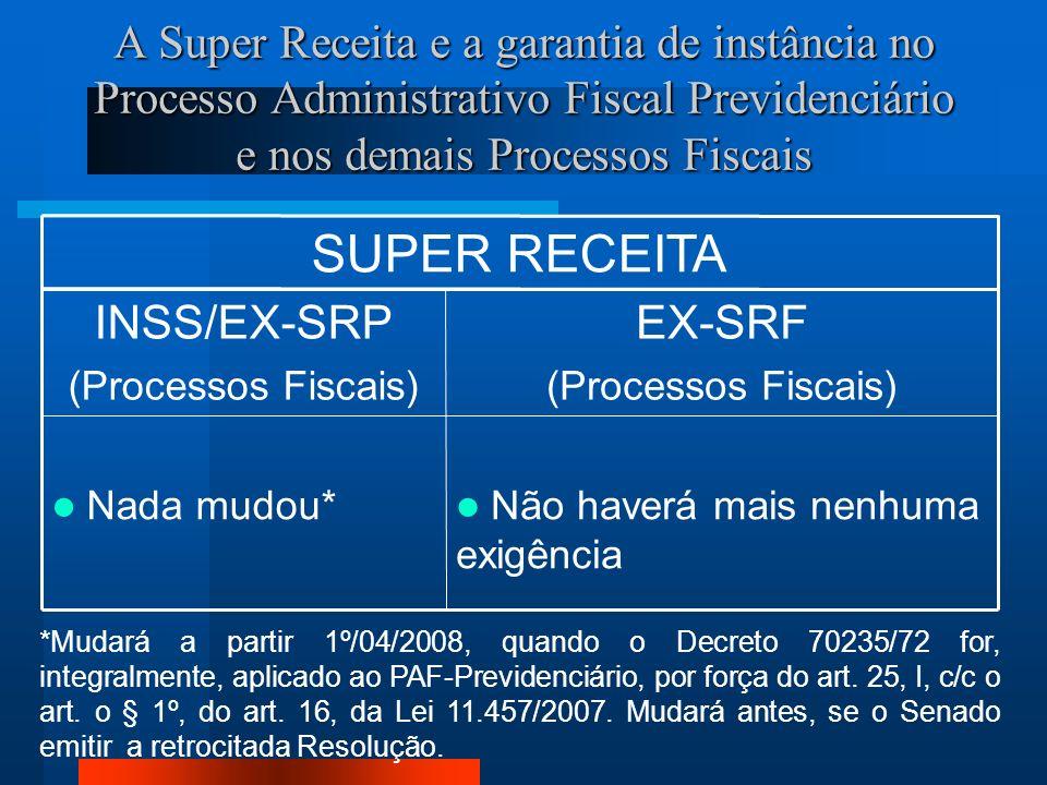 A Super Receita e a garantia de instância no Processo Administrativo Fiscal Previdenciário e nos demais Processos Fiscais SUPER RECEITA Não haverá mais nenhuma exigência Nada mudou* EX-SRF (Processos Fiscais) INSS/EX-SRP (Processos Fiscais) *Mudará a partir 1º/04/2008, quando o Decreto 70235/72 for, integralmente, aplicado ao PAF-Previdenciário, por força do art.