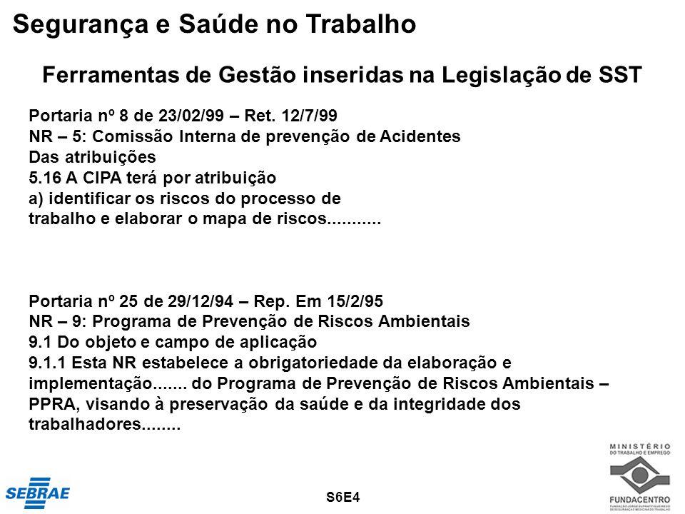 27 Ferramentas de Gestão inseridas na Legislação de SST Portaria nº 8 de 23/02/99 – Ret. 12/7/99 NR – 5: Comissão Interna de prevenção de Acidentes Da