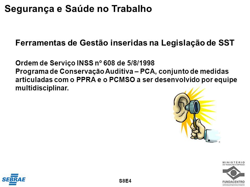29 Ferramentas de Gestão inseridas na Legislação de SST Ordem de Serviço INSS nº 608 de 5/8/1998 Programa de Conservação Auditiva – PCA, conjunto de m