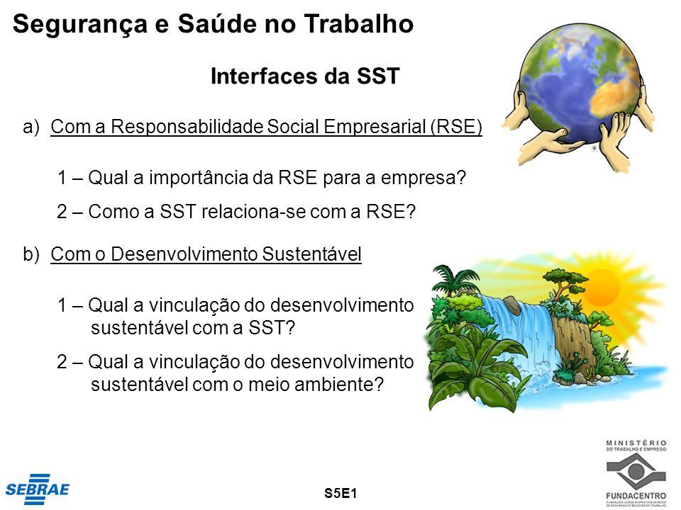 a) Com a Responsabilidade Social Empresarial (RSE) 1 – Qual a importância da RSE para a empresa? 2 – Como a SST relaciona-se com a RSE? b) Com o Desen