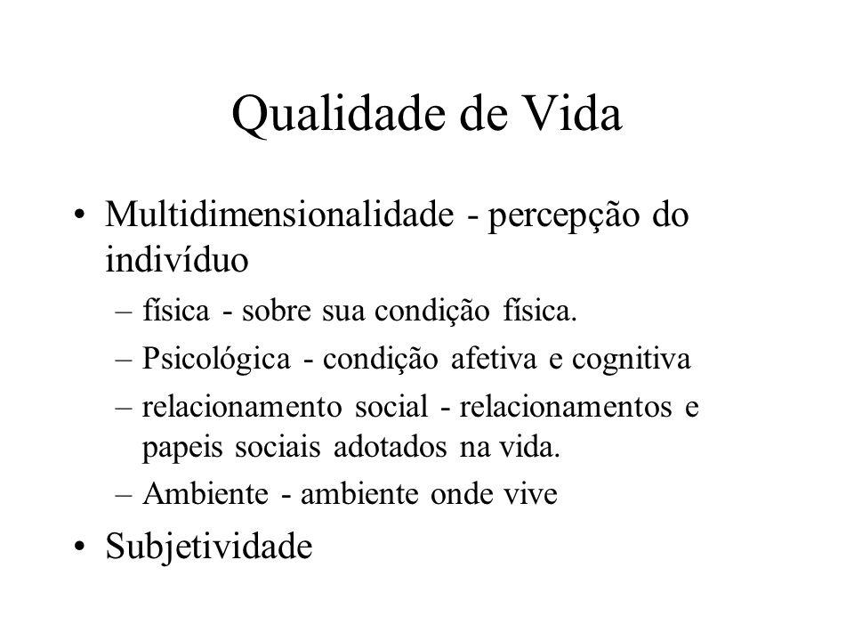 Qualidade de Vida Multidimensionalidade - percepção do indivíduo –física - sobre sua condição física. –Psicológica - condição afetiva e cognitiva –rel