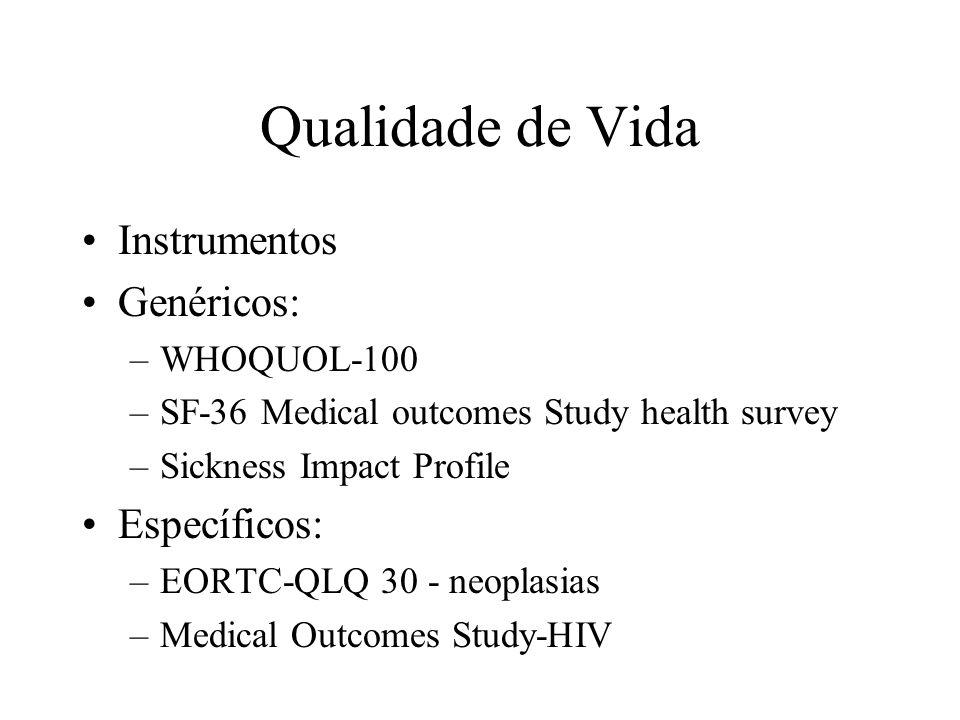 Qualidade de Vida Instrumentos Genéricos: –WHOQUOL-100 –SF-36 Medical outcomes Study health survey –Sickness Impact Profile Específicos: –EORTC-QLQ 30