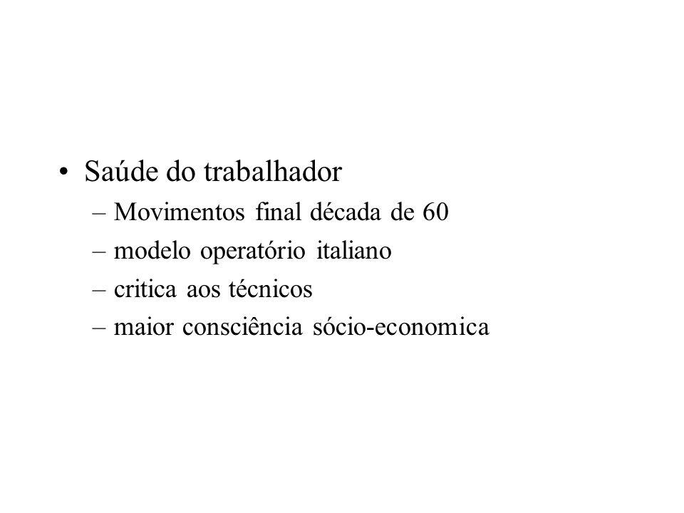 Saúde do trabalhador –Movimentos final década de 60 –modelo operatório italiano –critica aos técnicos –maior consciência sócio-economica