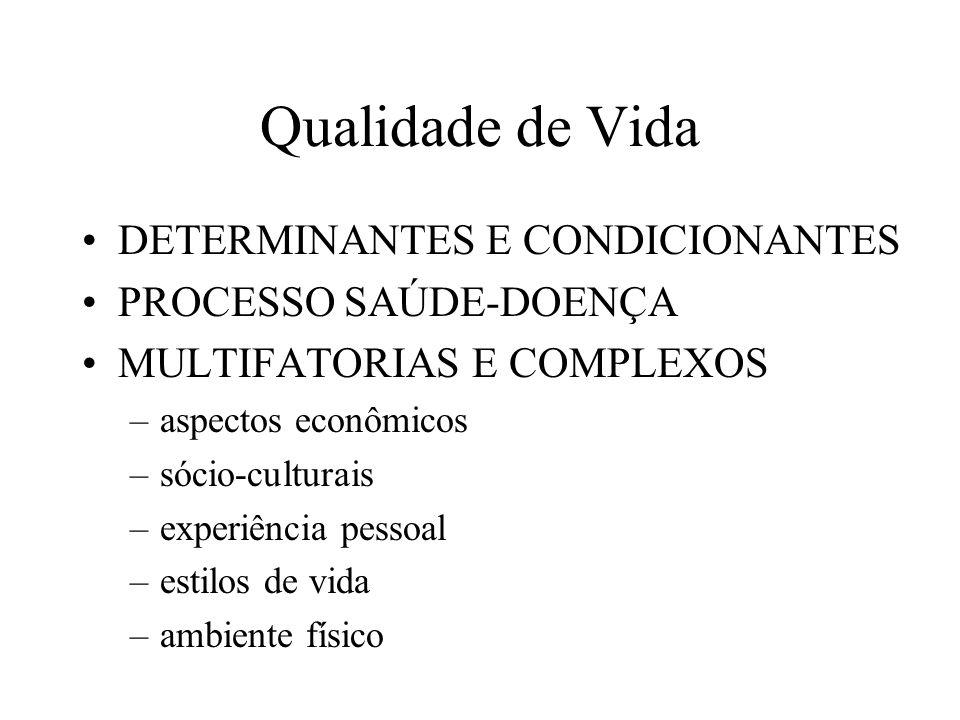Qualidade de Vida DETERMINANTES E CONDICIONANTES PROCESSO SAÚDE-DOENÇA MULTIFATORIAS E COMPLEXOS –aspectos econômicos –sócio-culturais –experiência pe