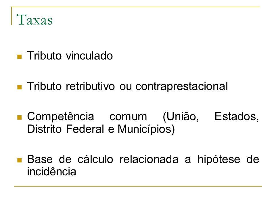 Taxas Tributo vinculado Tributo retributivo ou contraprestacional Competência comum (União, Estados, Distrito Federal e Municípios) Base de cálculo relacionada a hipótese de incidência
