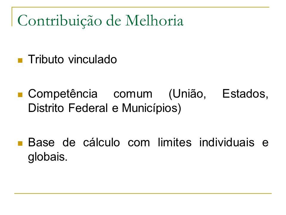Contribuição de Melhoria Tributo vinculado Competência comum (União, Estados, Distrito Federal e Municípios) Base de cálculo com limites individuais e