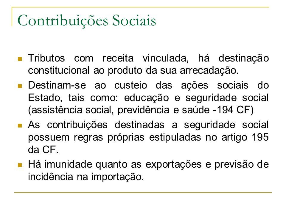 Contribuições Sociais Tributos com receita vinculada, há destinação constitucional ao produto da sua arrecadação. Destinam-se ao custeio das ações soc