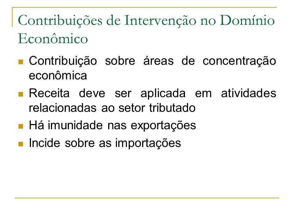 Contribuições de Intervenção no Domínio Econômico Contribuição sobre áreas de concentração econômica Receita deve ser aplicada em atividades relaciona