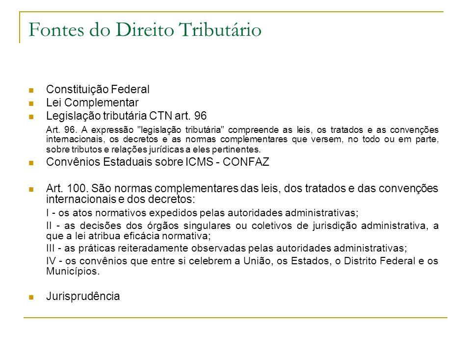 Fontes do Direito Tributário Constituição Federal Lei Complementar Legislação tributária CTN art. 96 Art. 96. A expressão