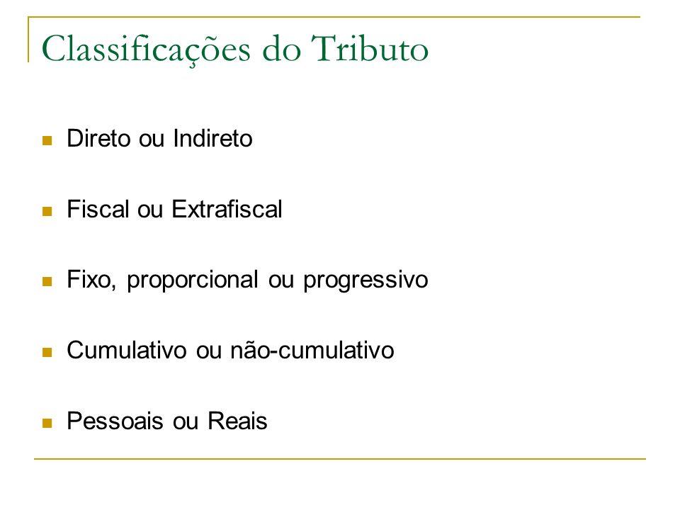 Classificações do Tributo Direto ou Indireto Fiscal ou Extrafiscal Fixo, proporcional ou progressivo Cumulativo ou não-cumulativo Pessoais ou Reais