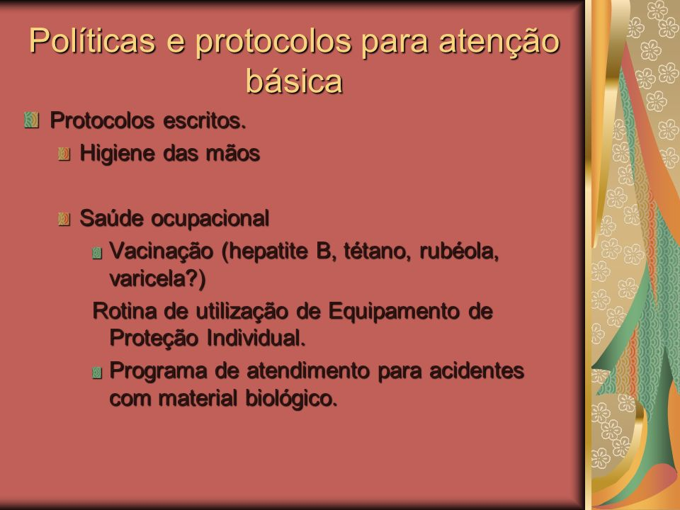 Medidas Preventivas – Princípios Básicos Embry F.C. Home Care. APIC 2005 Avaliação do ambiente– condições sanitárias: limpeza geral, área física, cond