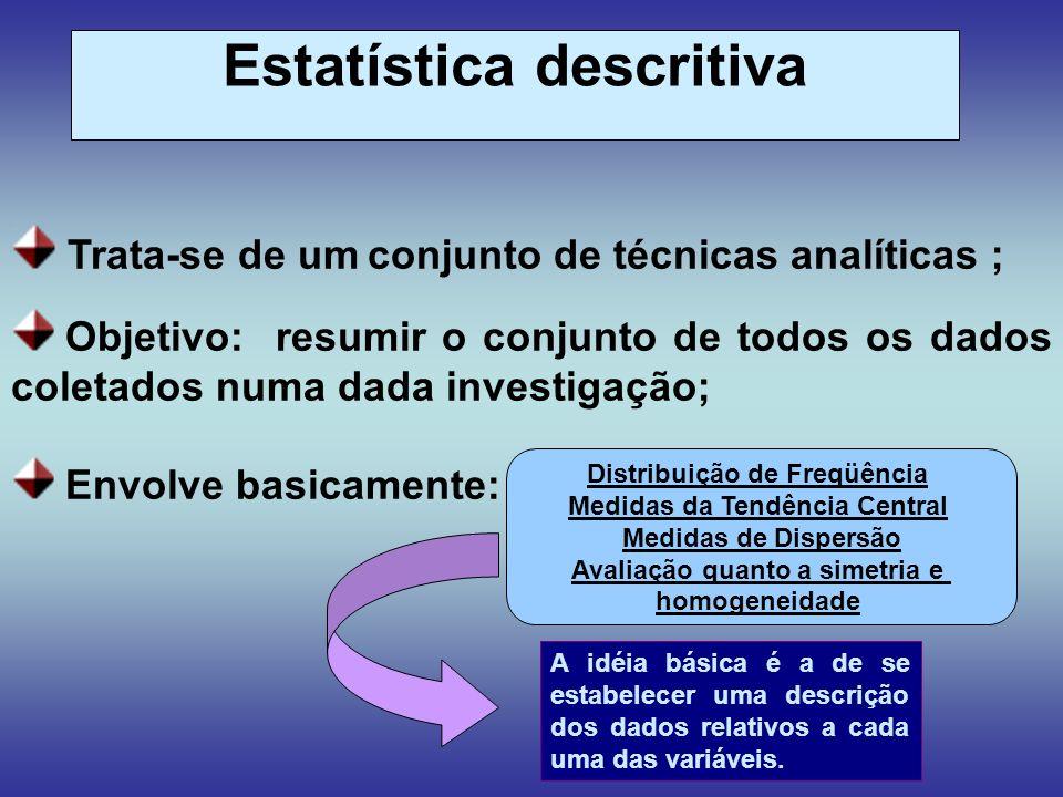Trata-se de um conjunto de técnicas analíticas ; Objetivo: resumir o conjunto de todos os dados coletados numa dada investigação; Envolve basicamente: