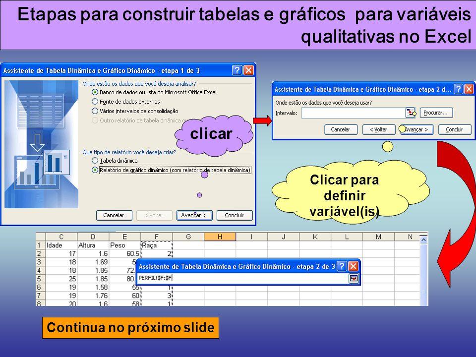 Etapas para construir tabelas e gráficos para variáveis qualitativas no Excel clicar Clicar para definir variável(is) Continua no próximo slide