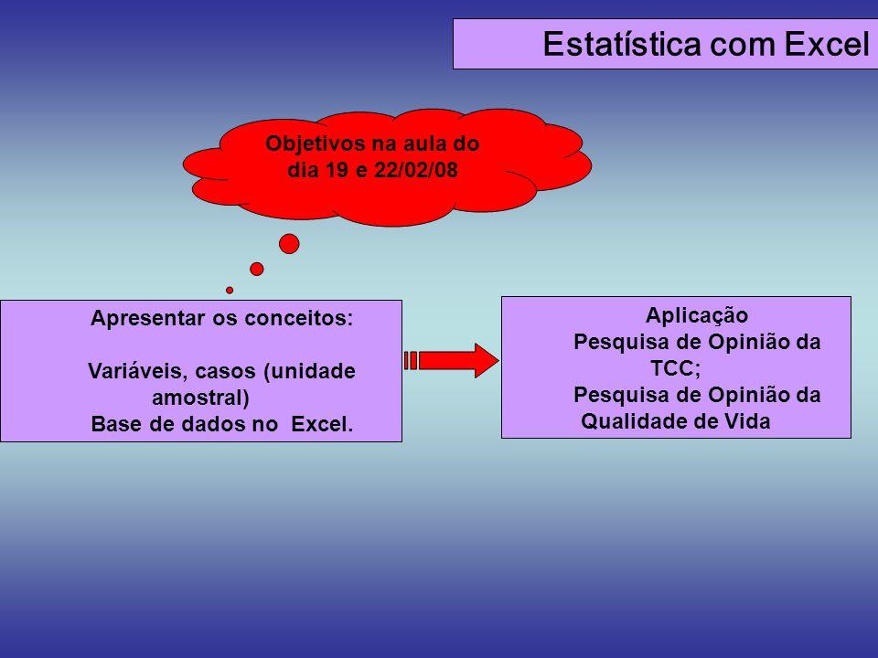 Estatística com Excel Apresentar os conceitos: Variáveis, casos (unidade amostral) Base de dados no Excel. Objetivos na aula do dia 19 e 22/02/08 Apli