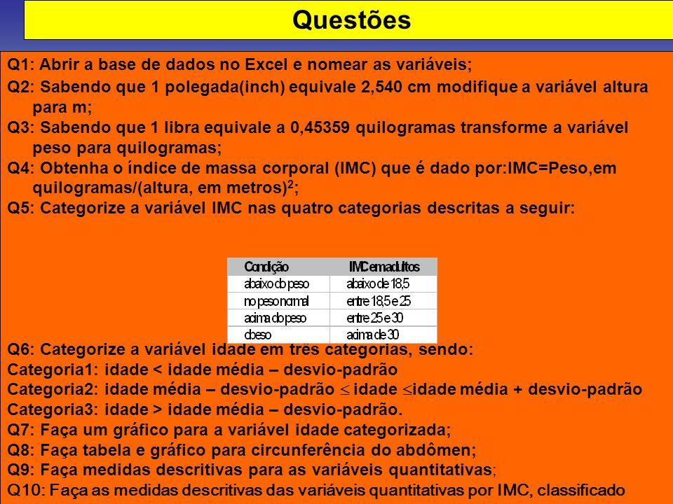 Questões Q1: Abrir a base de dados no Excel e nomear as variáveis; Q2: Sabendo que 1 polegada(inch) equivale 2,540 cm modifique a variável altura para
