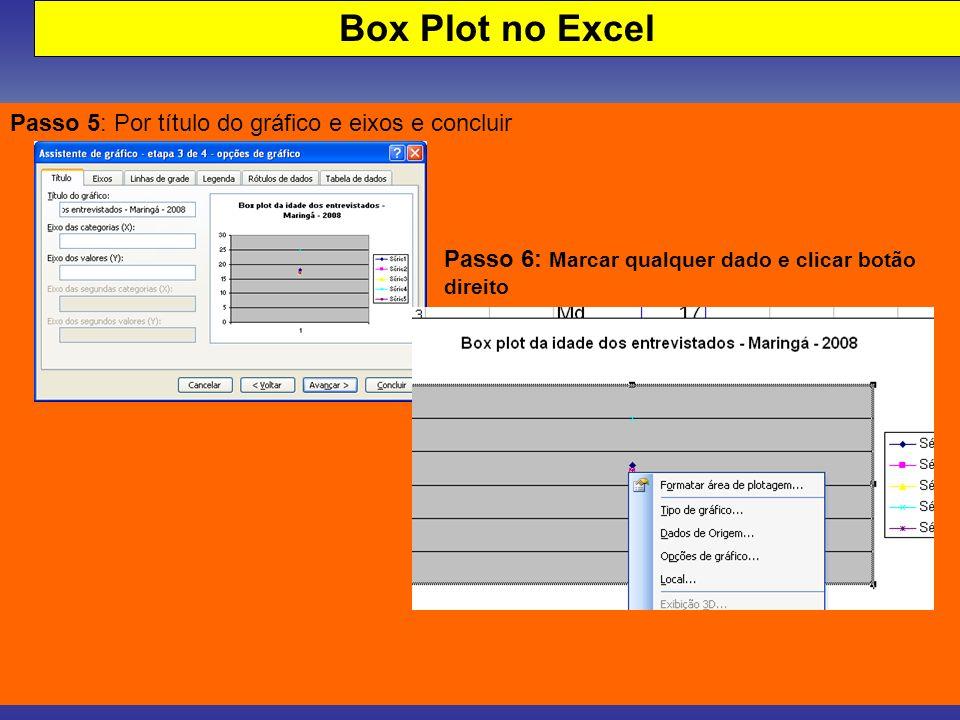 Box Plot no Excel Passo 5: Por título do gráfico e eixos e concluir Passo 6: Marcar qualquer dado e clicar botão direito