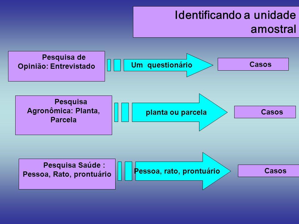 Identificando a unidade amostral Pesquisa de Opinião: Entrevistado Casos Um questionário Pesquisa Saúde : Pessoa, Rato, prontuário Casos Pessoa, rato,