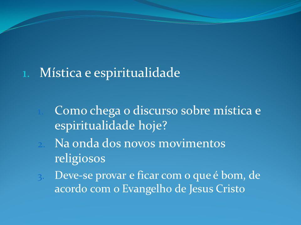 1.Mística e espiritualidade 1. Como chega o discurso sobre mística e espiritualidade hoje.