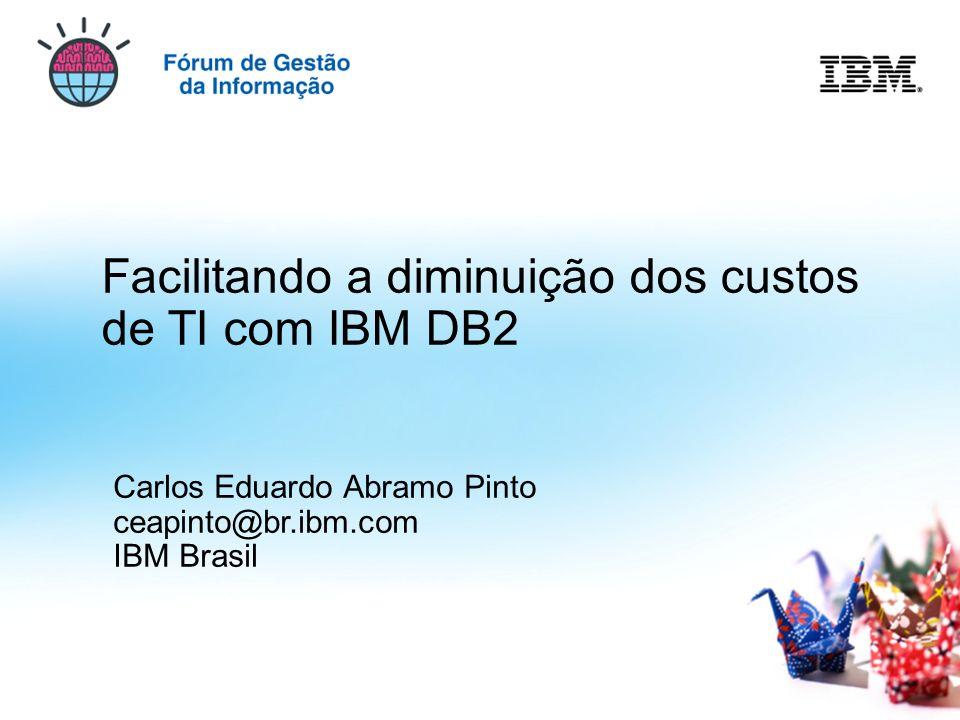 © 2009 IBM Corporation Facilitando a diminuição dos custos de TI com IBM DB2 Carlos Eduardo Abramo Pinto ceapinto@br.ibm.com IBM Brasil