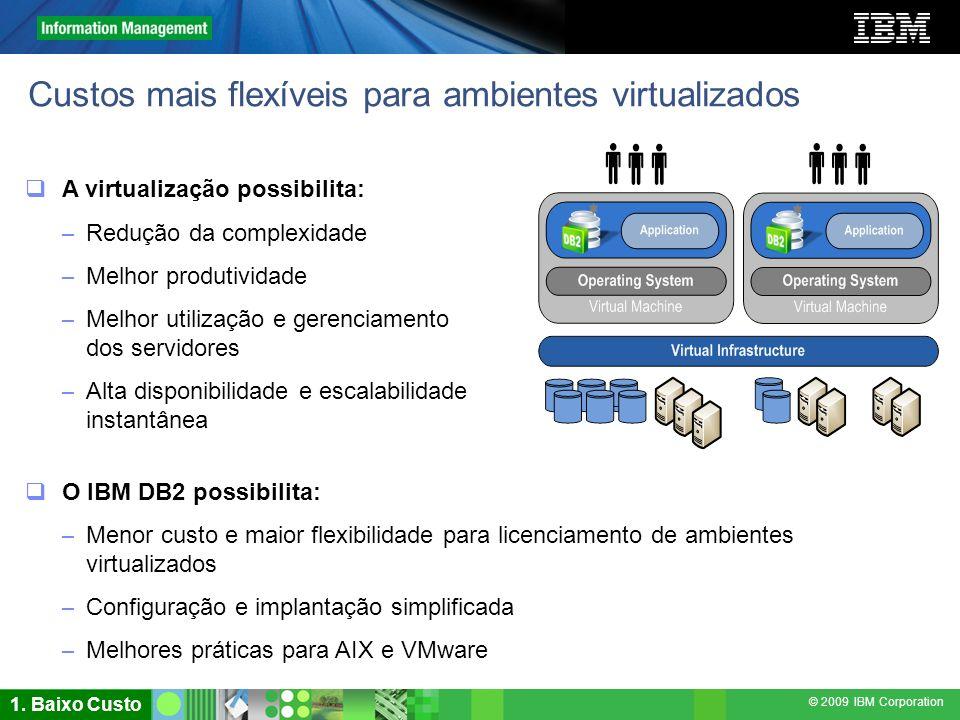 © 2009 IBM Corporation Custos mais flexíveis para ambientes virtualizados A virtualização possibilita: – Redução da complexidade – Melhor produtividad