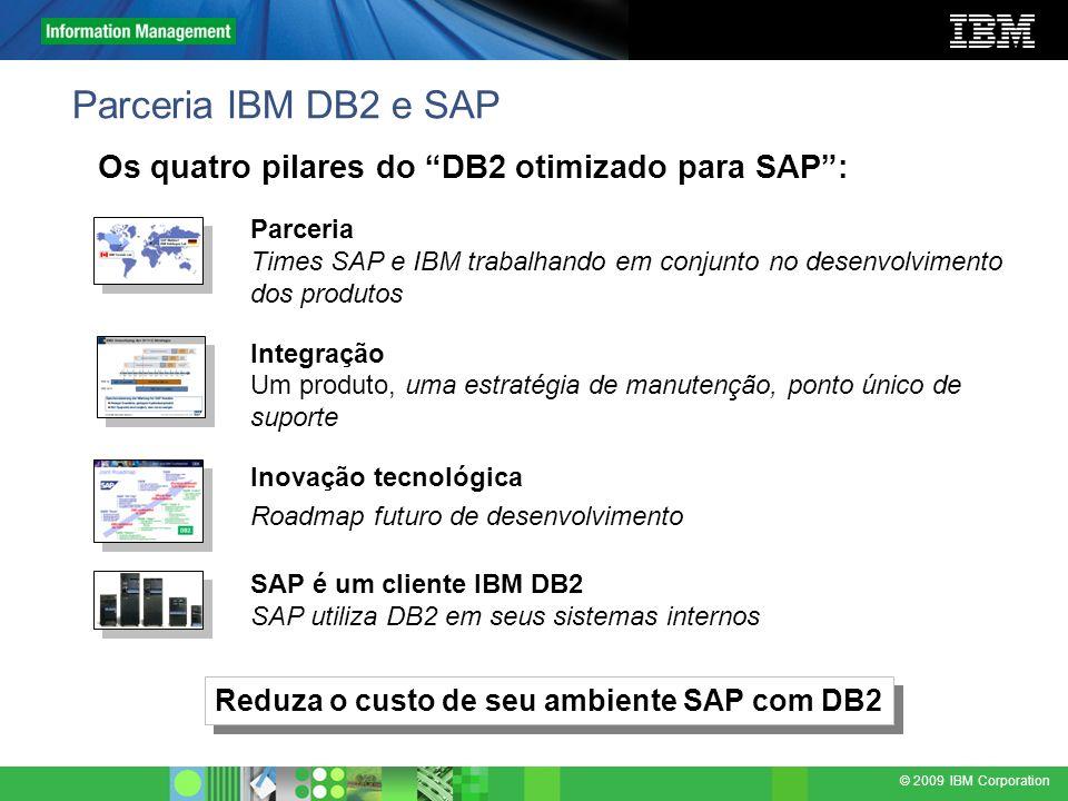 © 2009 IBM Corporation Parceria IBM DB2 e SAP Parceria Times SAP e IBM trabalhando em conjunto no desenvolvimento dos produtos Integração Um produto,