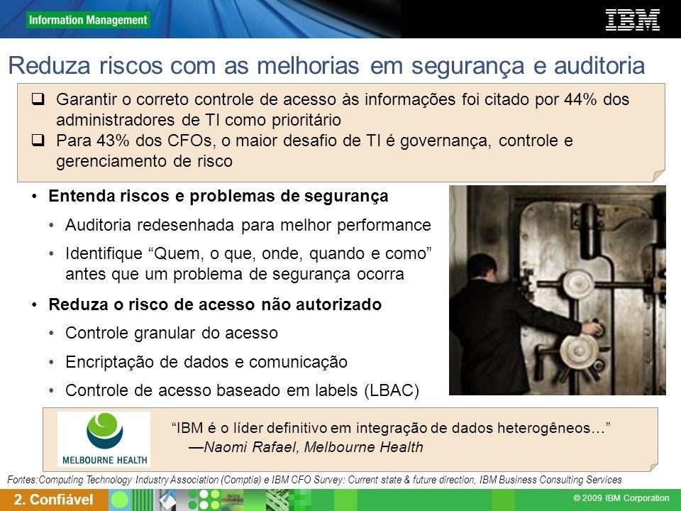 © 2009 IBM Corporation Reduza riscos com as melhorias em segurança e auditoria 2. Confiável Entenda riscos e problemas de segurança Auditoria redesenh