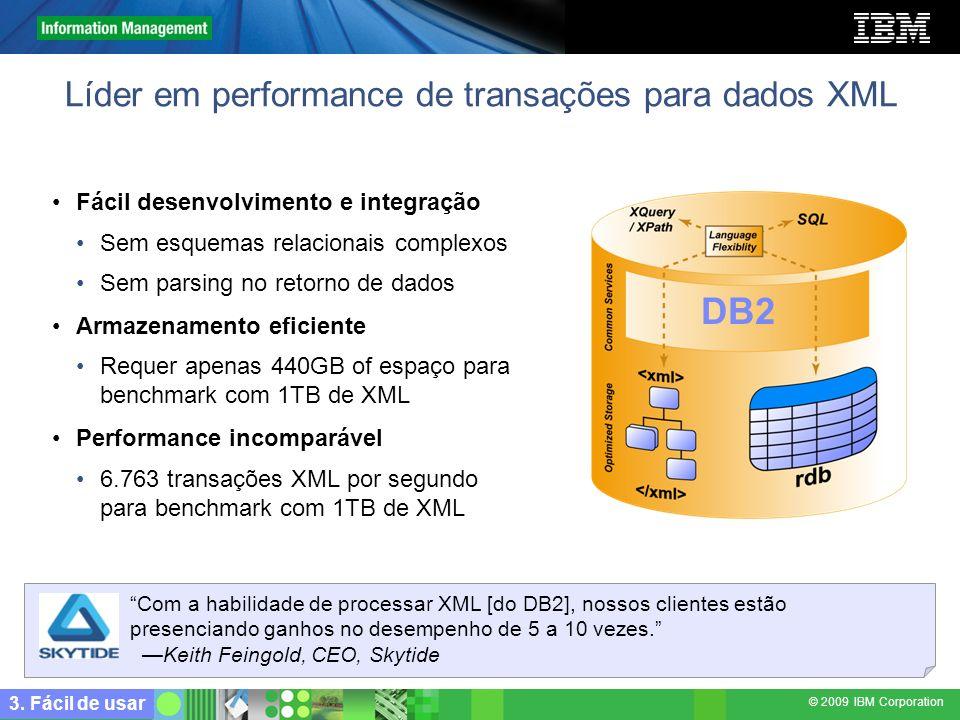 © 2009 IBM Corporation Líder em performance de transações para dados XML 3. Fácil de usar Fácil desenvolvimento e integração Sem esquemas relacionais