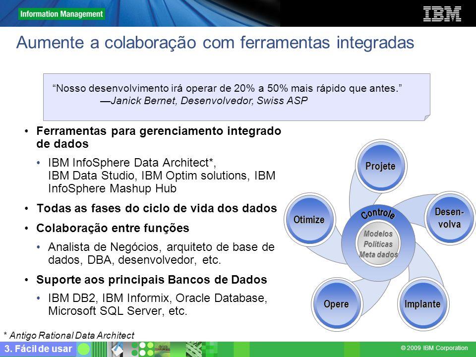© 2009 IBM Corporation Aumente a colaboração com ferramentas integradas Ferramentas para gerenciamento integrado de dados IBM InfoSphere Data Architec