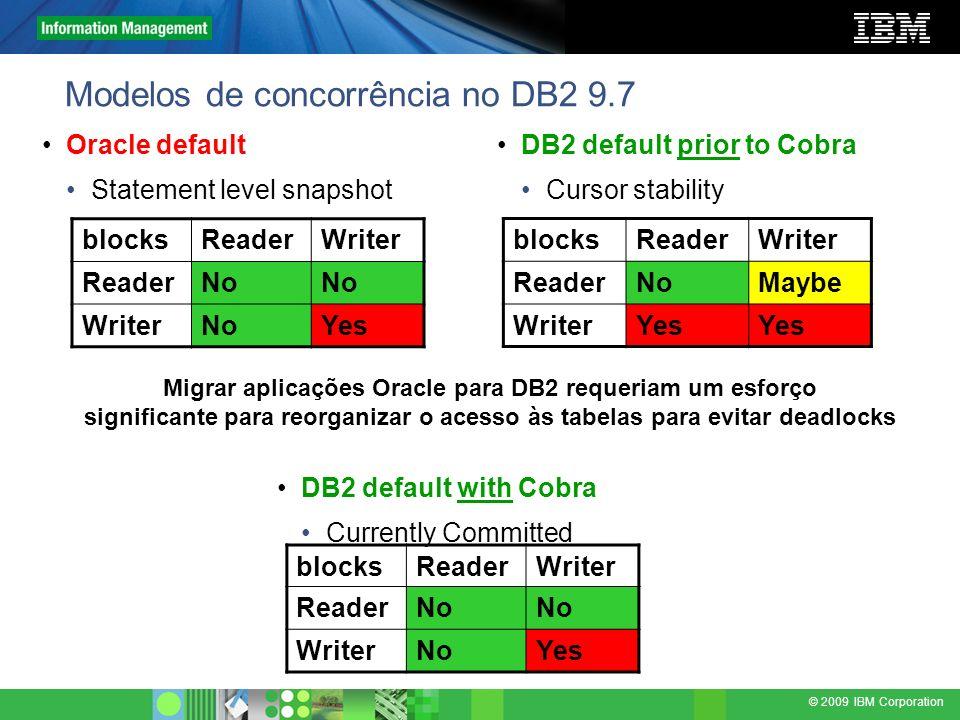 © 2009 IBM Corporation Modelos de concorrência no DB2 9.7 blocksReaderWriter ReaderNo WriterNoYes blocksReaderWriter ReaderNoMaybe WriterYes Migrar ap