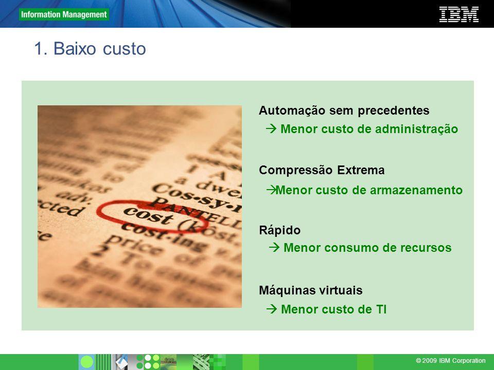 © 2009 IBM Corporation 1. Baixo custo Automação sem precedentes Compressão Extrema Rápido Máquinas virtuais Menor custo de administração Menor consumo