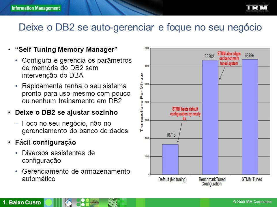 © 2009 IBM Corporation Deixe o DB2 se auto-gerenciar e foque no seu negócio Self Tuning Memory Manager Configura e gerencia os parâmetros de memória d