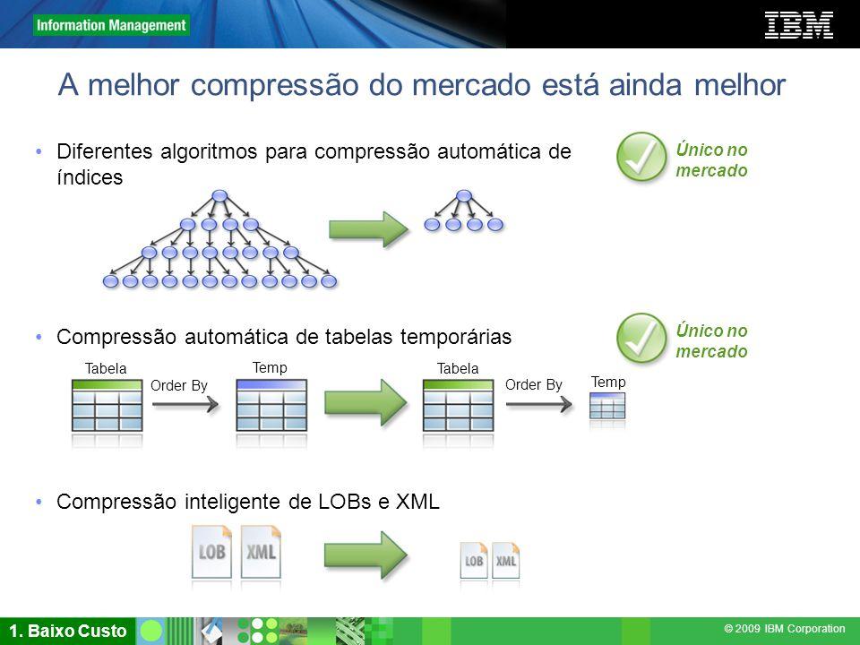 © 2009 IBM Corporation A melhor compressão do mercado está ainda melhor Diferentes algoritmos para compressão automática de índices Único no mercado T