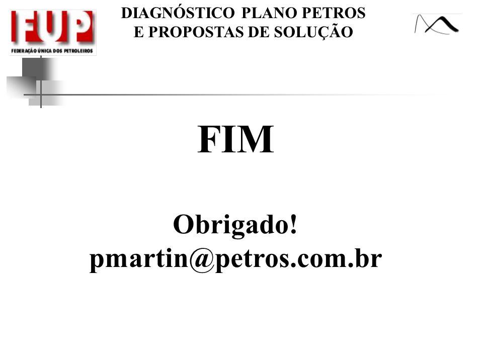 DIAGNÓSTICO PLANO PETROS E PROPOSTAS DE SOLUÇÃO FIM Obrigado! pmartin@petros.com.br