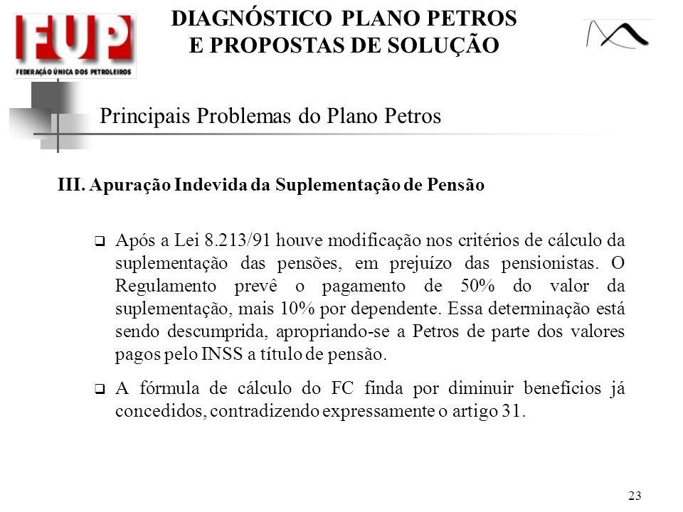 DIAGNÓSTICO PLANO PETROS E PROPOSTAS DE SOLUÇÃO 23 Principais Problemas do Plano Petros III. Apuração Indevida da Suplementação de Pensão Após a Lei 8