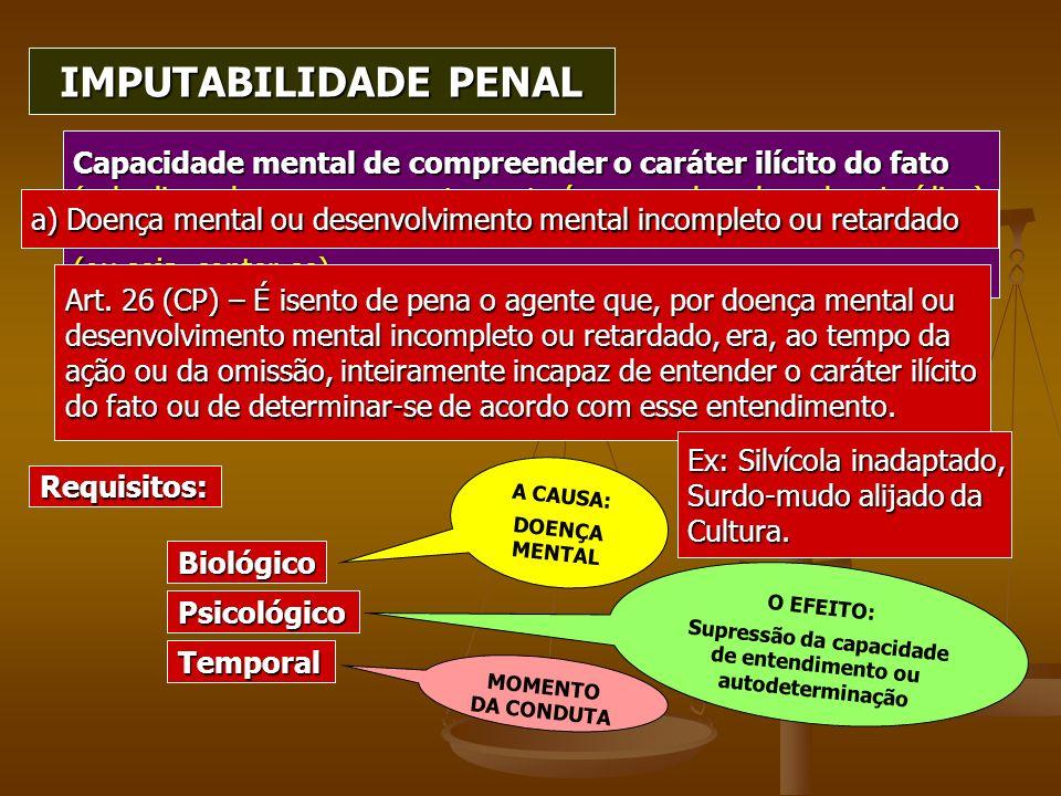 Capacidade mental de compreender o caráter ilícito do fato (vale dizer, de que o comportamento é reprovado pela ordem jurídica) E de determinar-se de