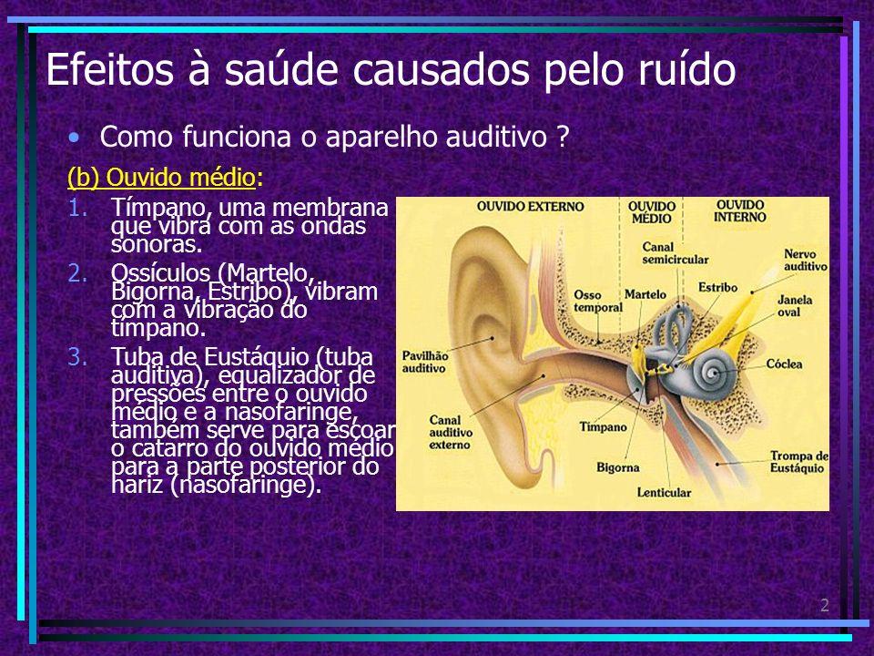 1 Efeitos à saúde causados pelo ruído Como funciona o aparelho auditivo ? O aparelho auditivo é dividido em: (a) Ouvido externo: 1.Composto pela orelh