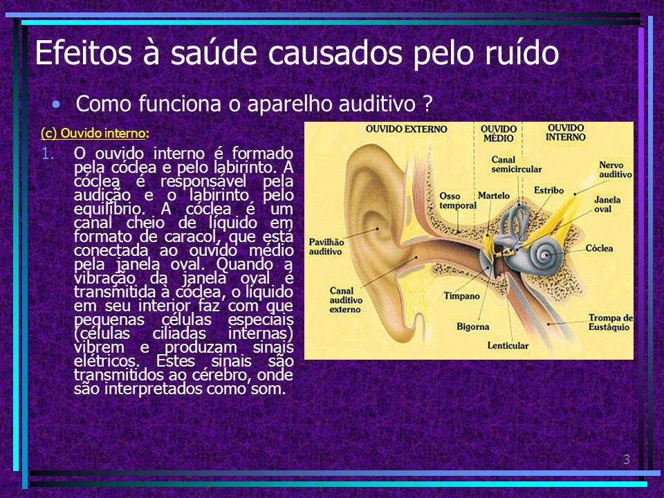 2 Efeitos à saúde causados pelo ruído Como funciona o aparelho auditivo ? (b) Ouvido médio: 1.Tímpano, uma membrana que vibra com as ondas sonoras. 2.