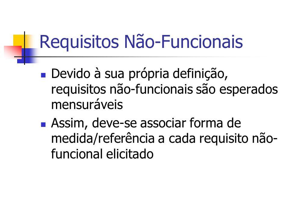 Requisitos Não-Funcionais Devido à sua própria definição, requisitos não-funcionais são esperados mensuráveis Assim, deve-se associar forma de medida/