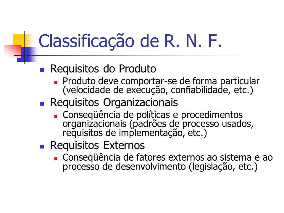 Classificação de R. N. F. Requisitos do Produto Produto deve comportar-se de forma particular (velocidade de execução, confiabilidade, etc.) Requisito