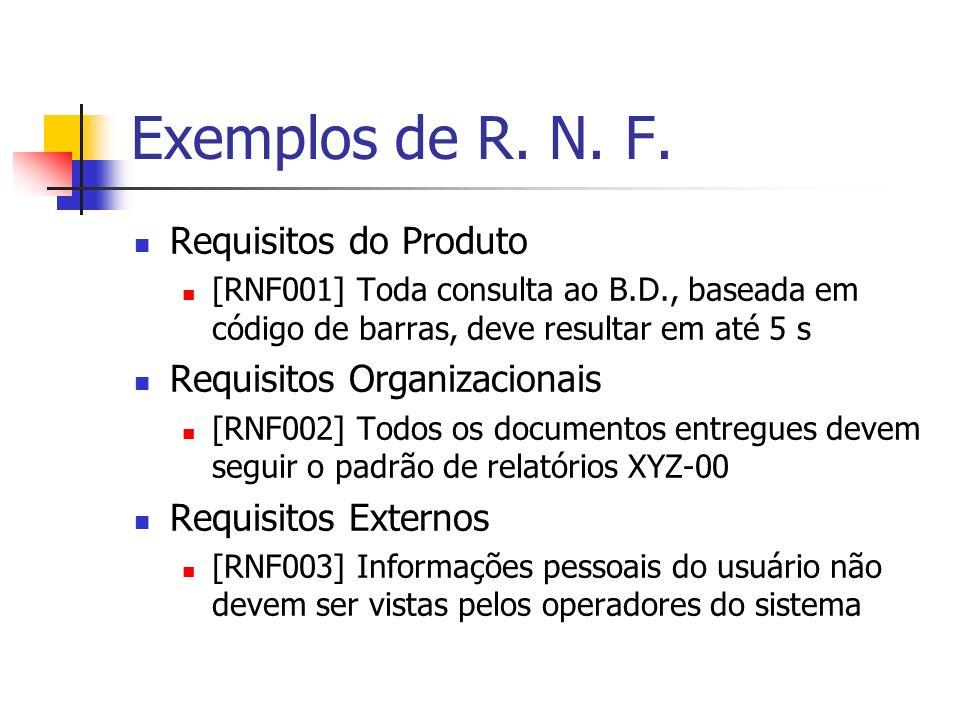 Exemplos de R. N. F. Requisitos do Produto [RNF001] Toda consulta ao B.D., baseada em código de barras, deve resultar em até 5 s Requisitos Organizaci