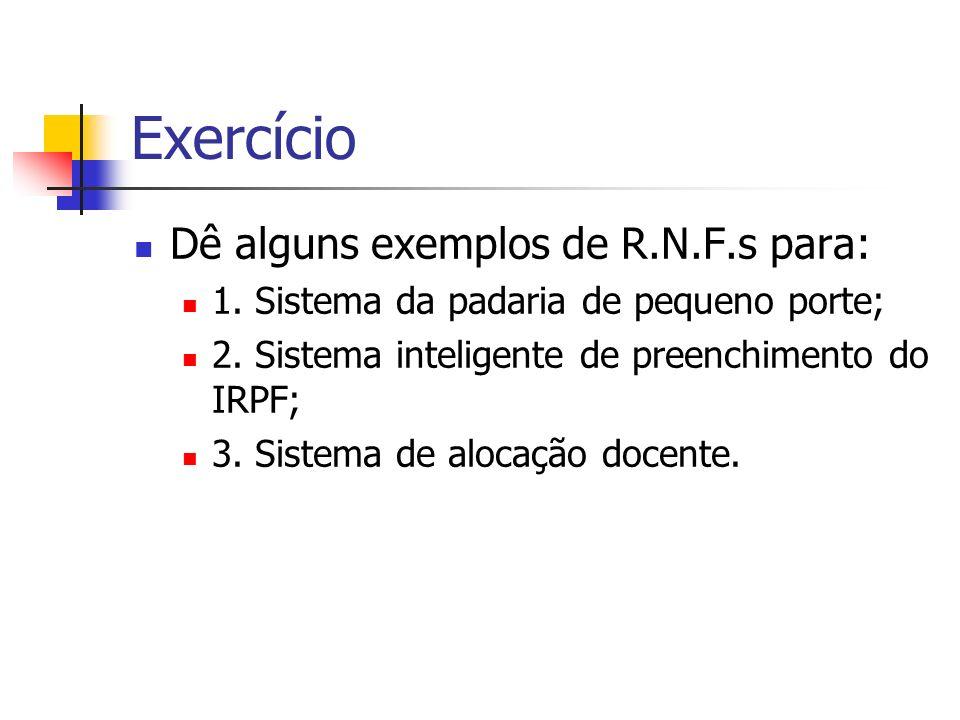 Exercício Dê alguns exemplos de R.N.F.s para: 1. Sistema da padaria de pequeno porte; 2. Sistema inteligente de preenchimento do IRPF; 3. Sistema de a