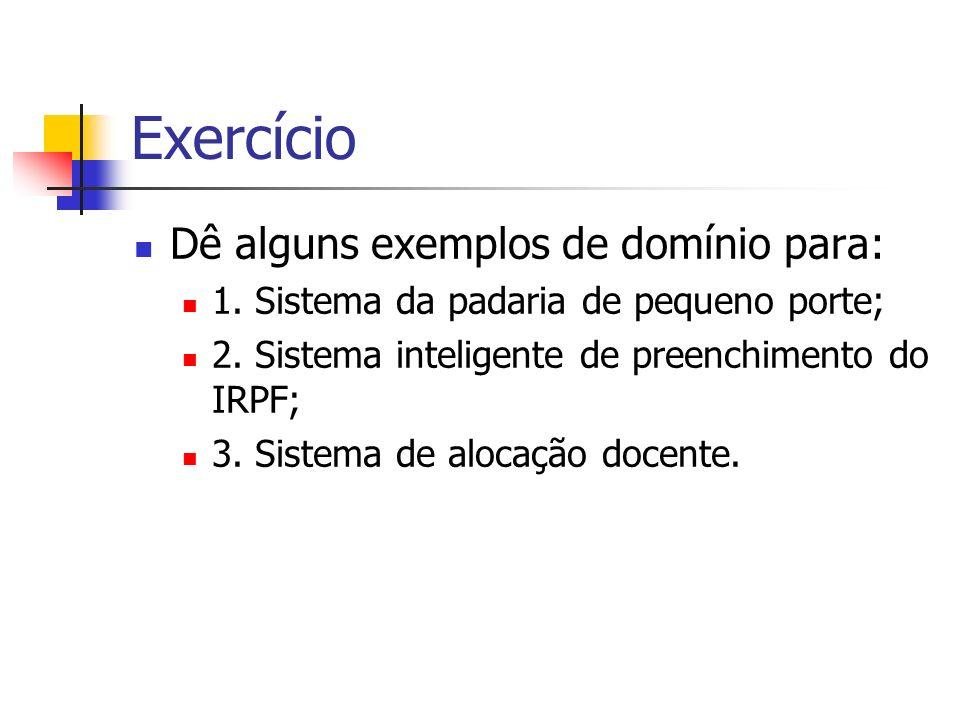 Exercício Dê alguns exemplos de domínio para: 1. Sistema da padaria de pequeno porte; 2. Sistema inteligente de preenchimento do IRPF; 3. Sistema de a