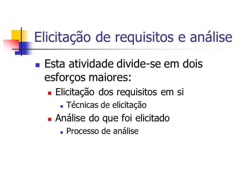 Elicitação de requisitos e análise Esta atividade divide-se em dois esforços maiores: Elicitação dos requisitos em si Técnicas de elicitação Análise d