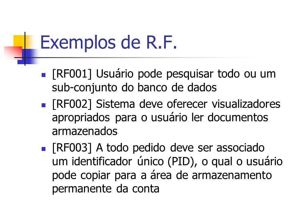 Exemplos de R.F. [RF001] Usuário pode pesquisar todo ou um sub-conjunto do banco de dados [RF002] Sistema deve oferecer visualizadores apropriados par
