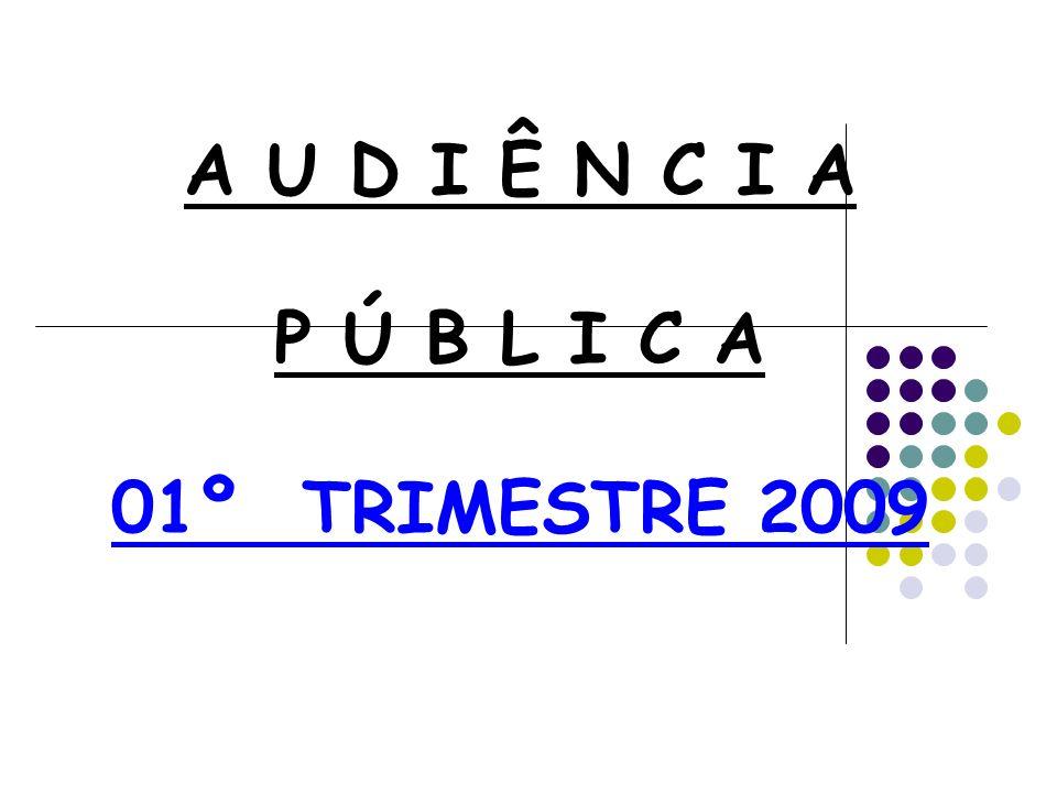 A U D I Ê N C I A P Ú B L I C A 01º TRIMESTRE 2009