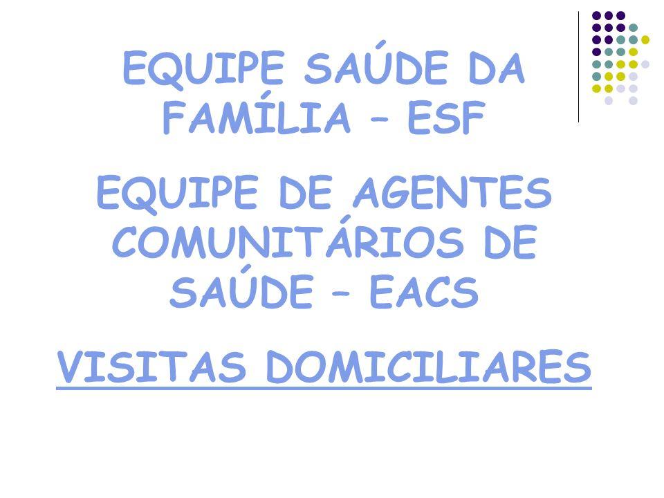 EQUIPE SAÚDE DA FAMÍLIA – ESF EQUIPE DE AGENTES COMUNITÁRIOS DE SAÚDE – EACS VISITAS DOMICILIARES