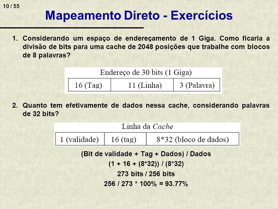 10 / 55 Mapeamento Direto - Exercícios 1.Considerando um espaço de endereçamento de 1 Giga. Como ficaria a divisão de bits para uma cache de 2048 posi