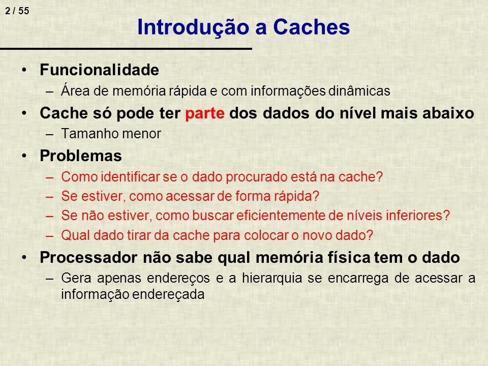 3 / 55 Mapeamento de Endereços em Memória Cache Como fazer para pesquisar um dado na cache.