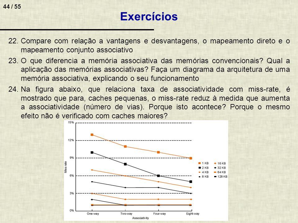 44 / 55 22.Compare com relação a vantagens e desvantagens, o mapeamento direto e o mapeamento conjunto associativo 23.O que diferencia a memória assoc